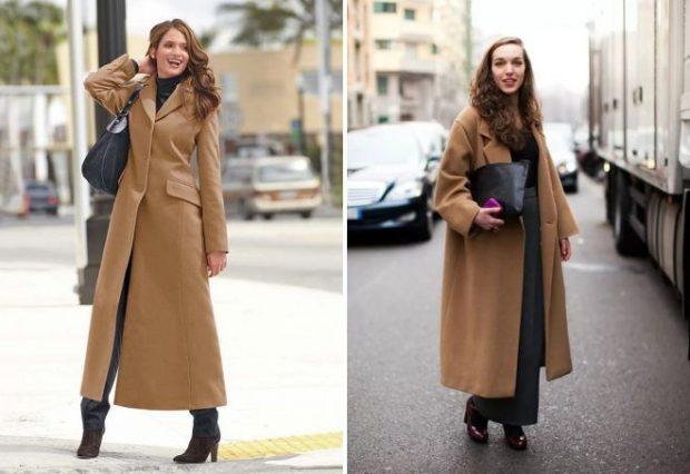 пальто коричневое миди