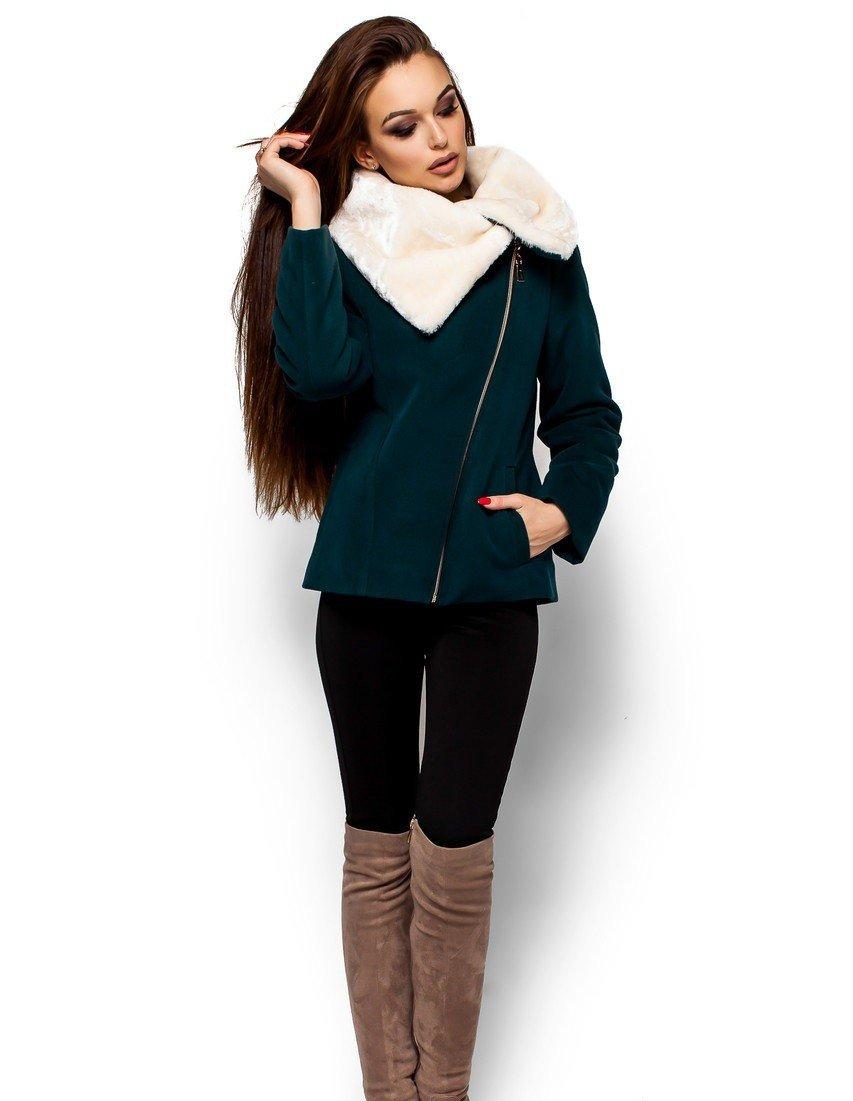 пальто-куртка косуха темно-зеленая с меховым воротом