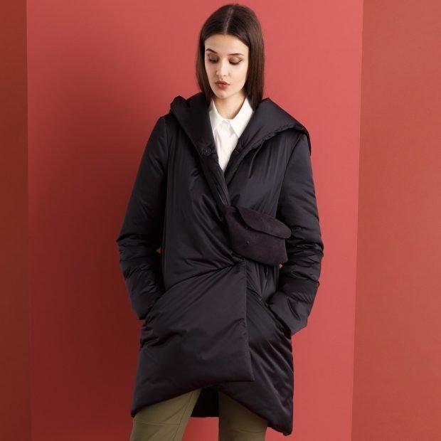 пальто-куртка оверсайз черное