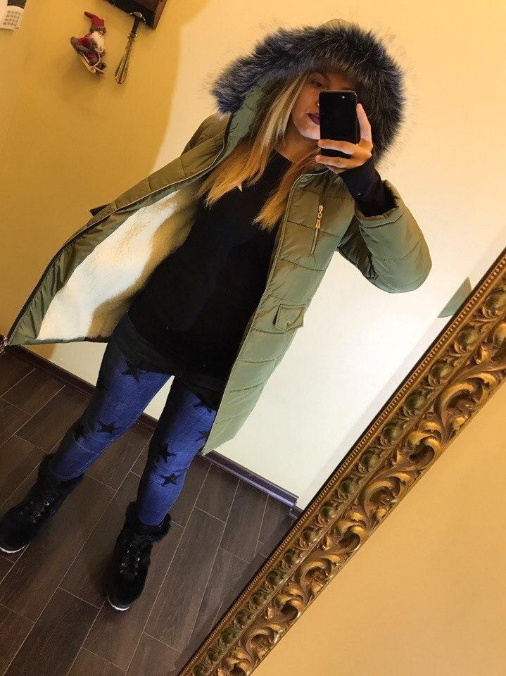 пальто-куртка парка зеленое с капюшоном