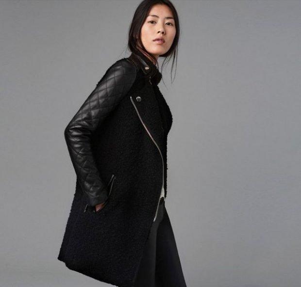 пальто-куртка стеганый рукав черное