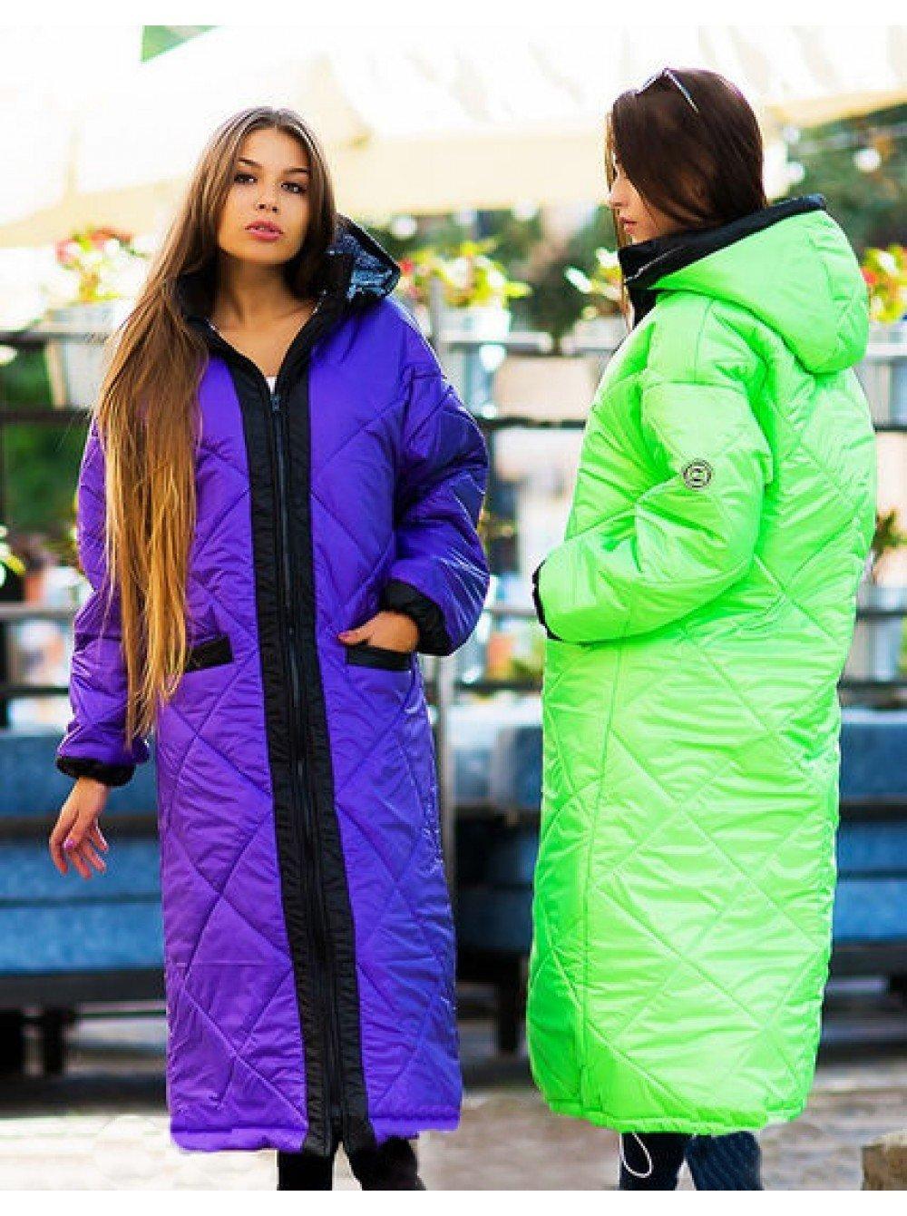 пальто-стеганое миди фиолетовое салатовое