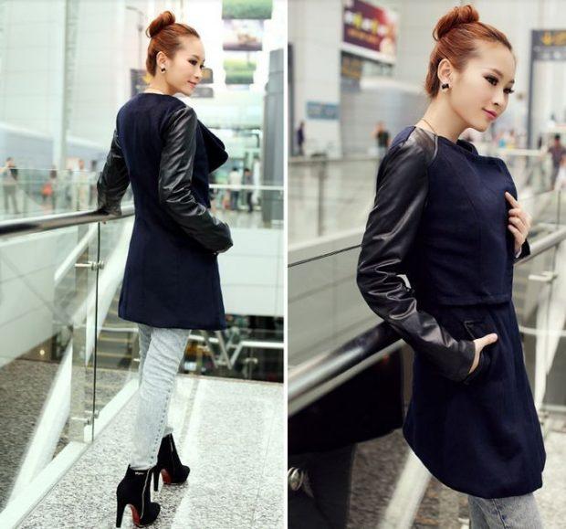 пальто-куртка темное кожаный рукав