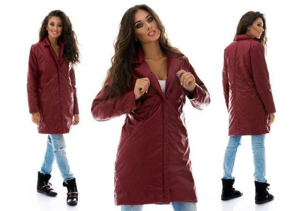 пальто на синтепоне бордовое