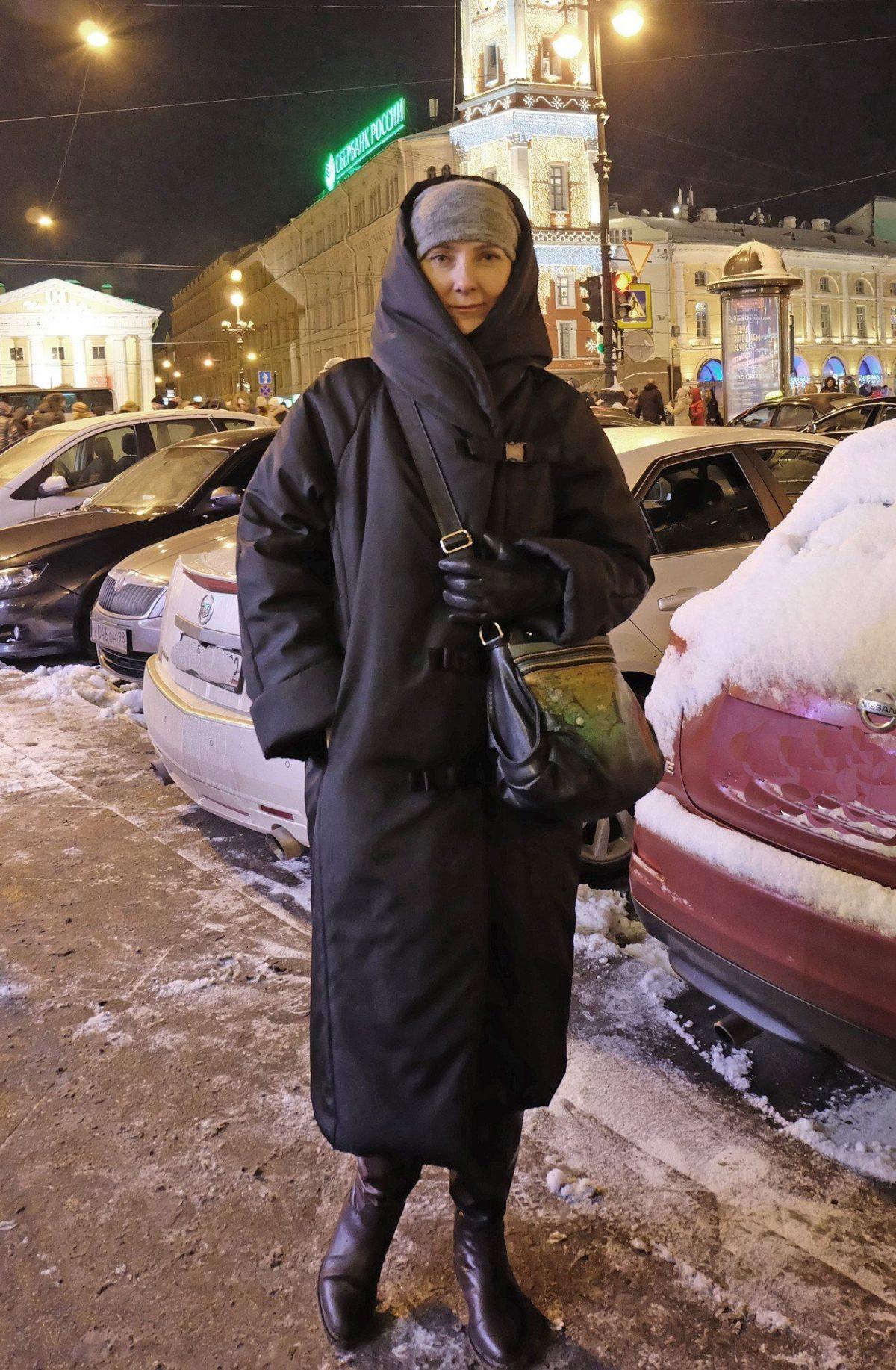 пальто на синтепоне черное миди