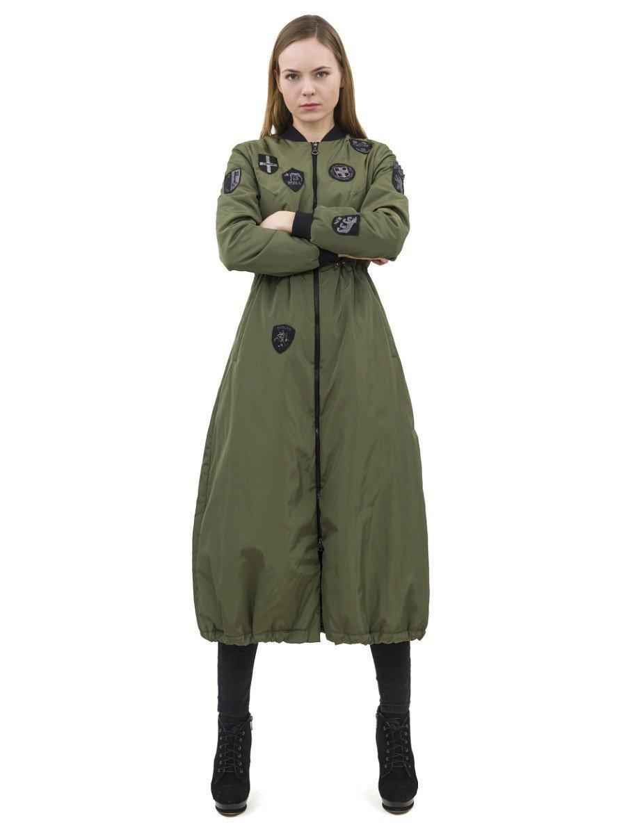 пальто на синтепоне зеленое длина миди