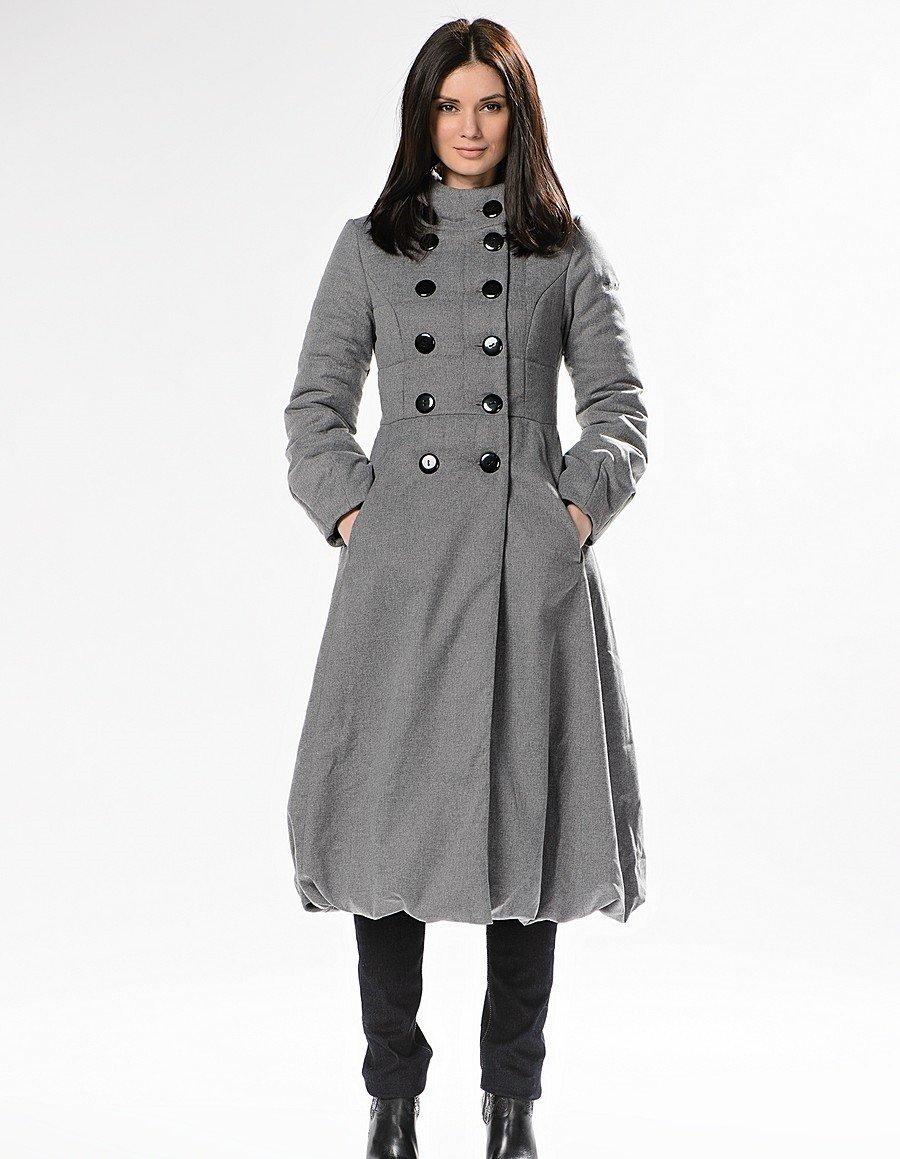пальто на синтепоне серое двубортное