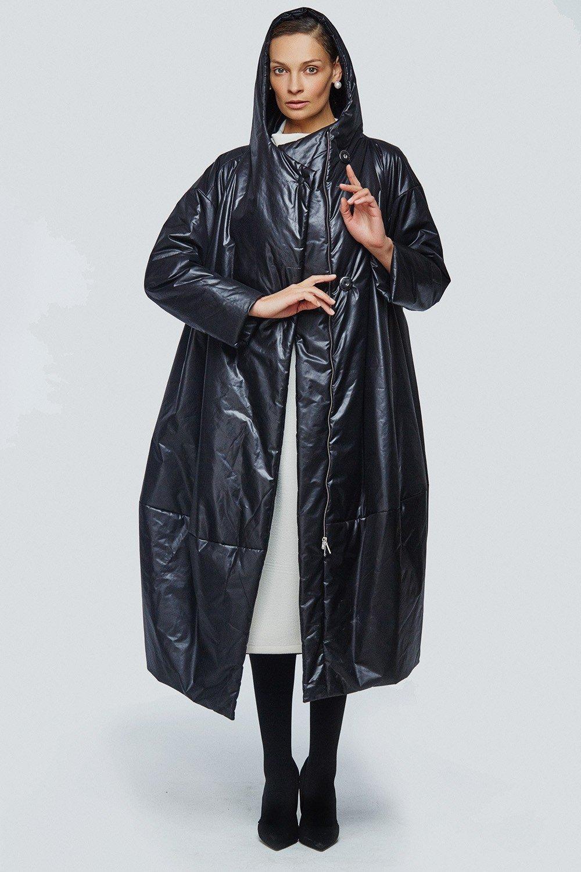 пальто на синтепоне черное оверсайз