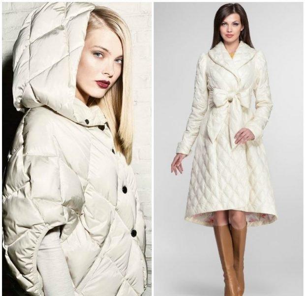 пальто на синтепоне белое с капюшоном белое асимметрия