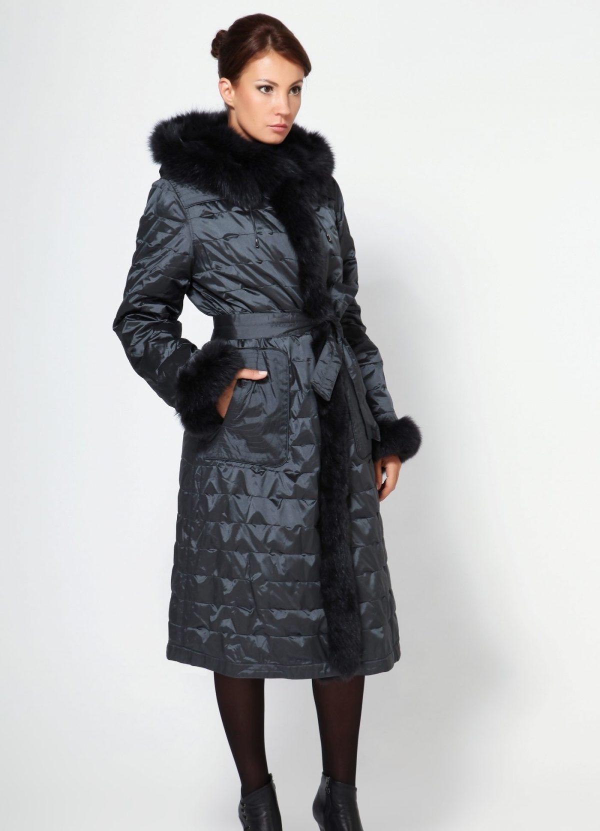 болоневое пальто черное миди