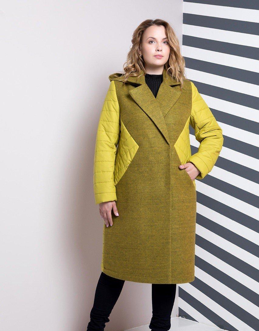 стеганное пальто зеленое