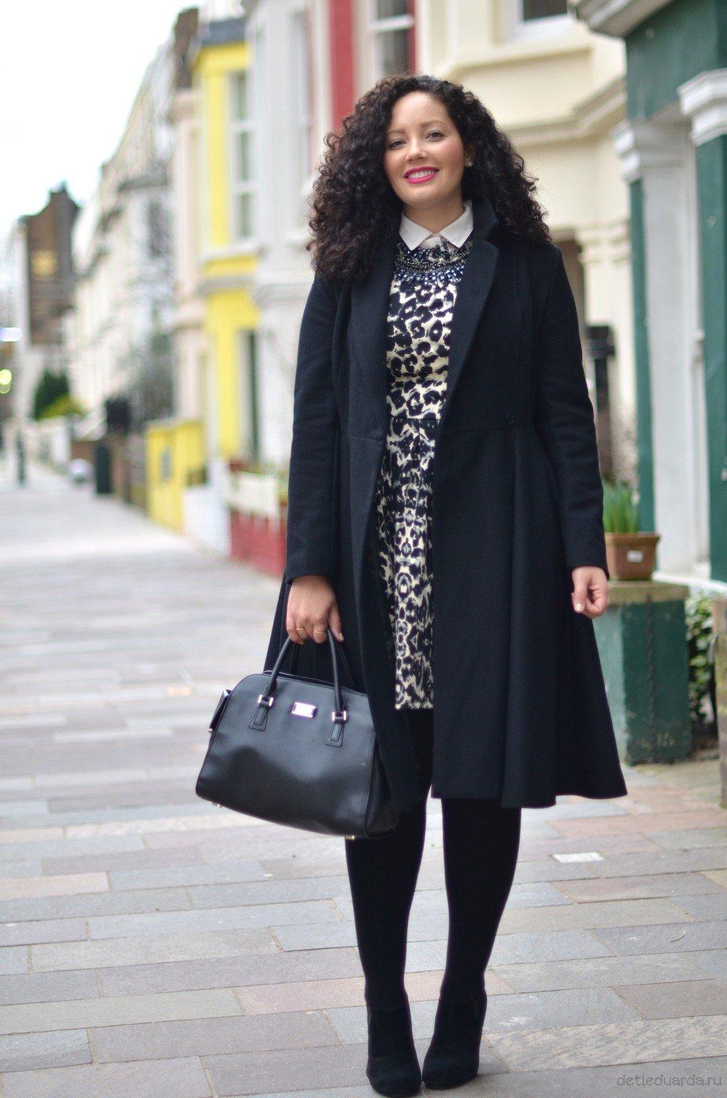пальто для полных черное