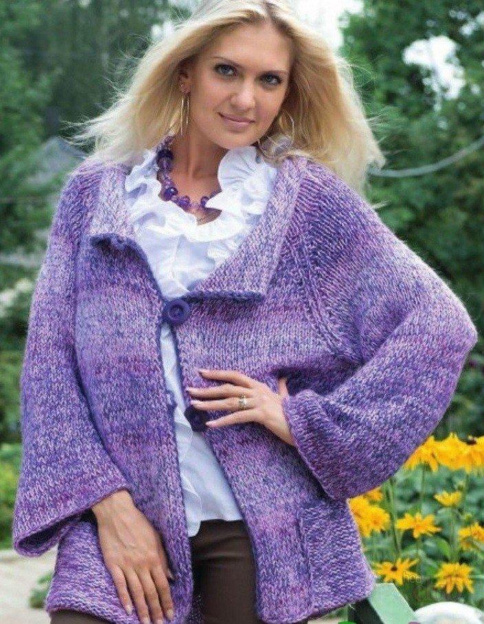 пальто для полных вязаное