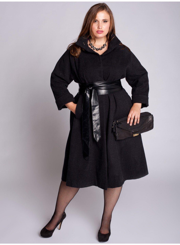 пальто для полных черное с ремне из кожи