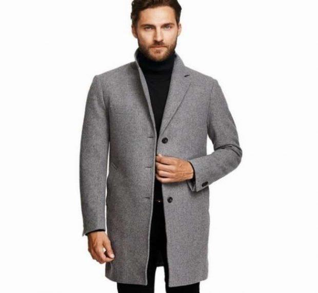 мужское пальто серое классика