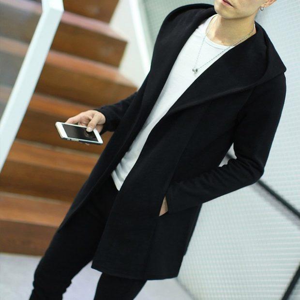 мужское пальто черное стиль кэжуал