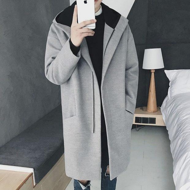 мужское пальто серое стиль кэжуал