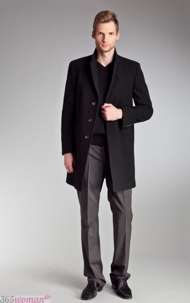 мужское пальто черное классика
