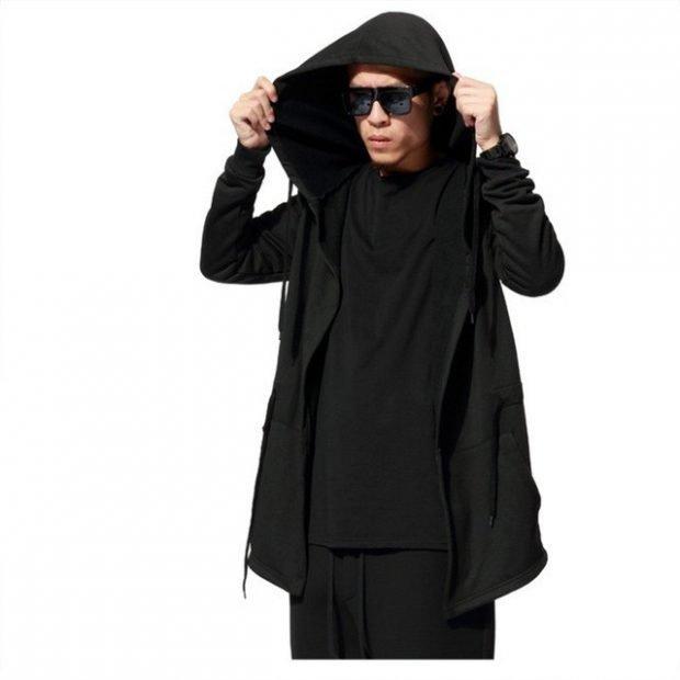 кардиган мужской черный с капюшоном