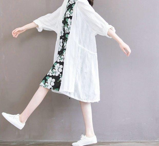 летний кардиган рубашка белый тонкий