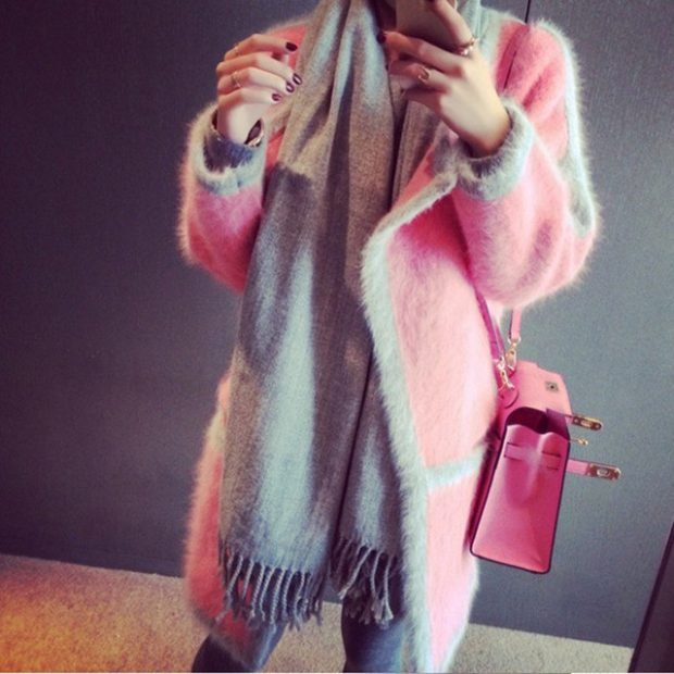 кардиган на зиму шерстяной розовый с серым