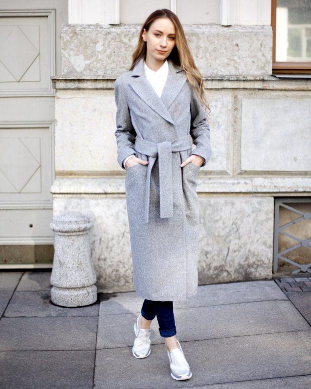 кардиган-пальто серое миди с поясом
