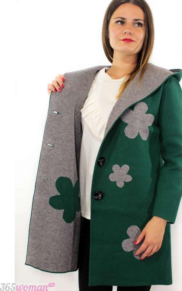 кардиган-пальто зеленое с цветами