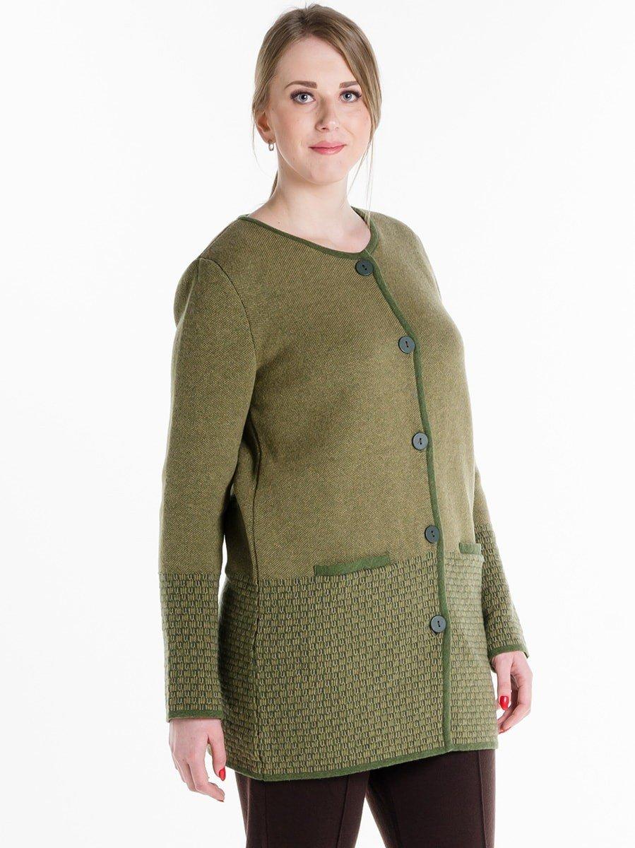 кардиган-пальто зеленое на пуговках