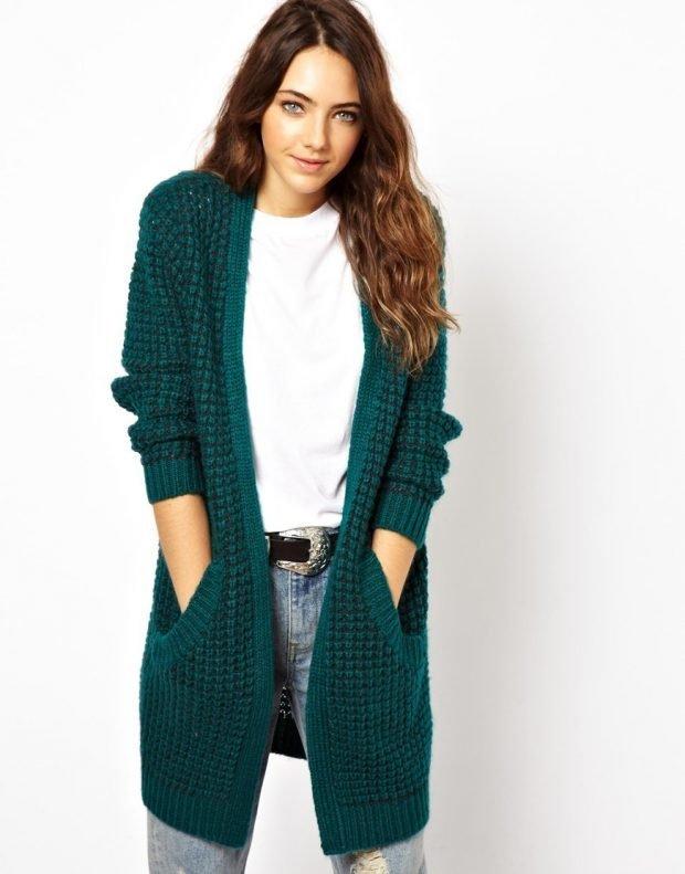 кардиган зеленый с карманами