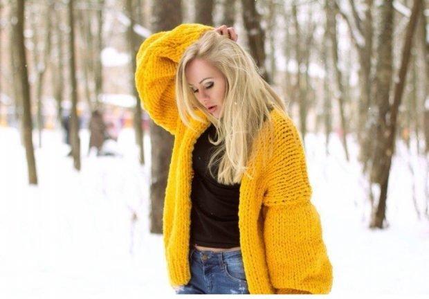 кардиган кежуал желтый
