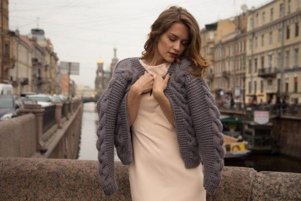 кардиган свитер серый вязаный