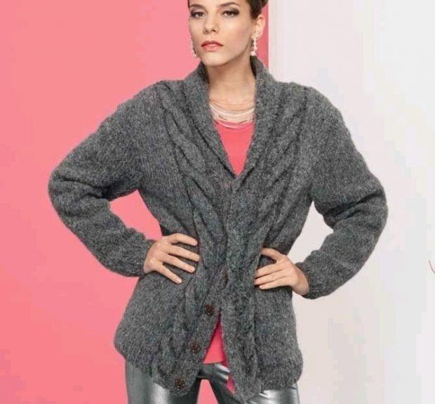 кардиган свитер серый под пояс