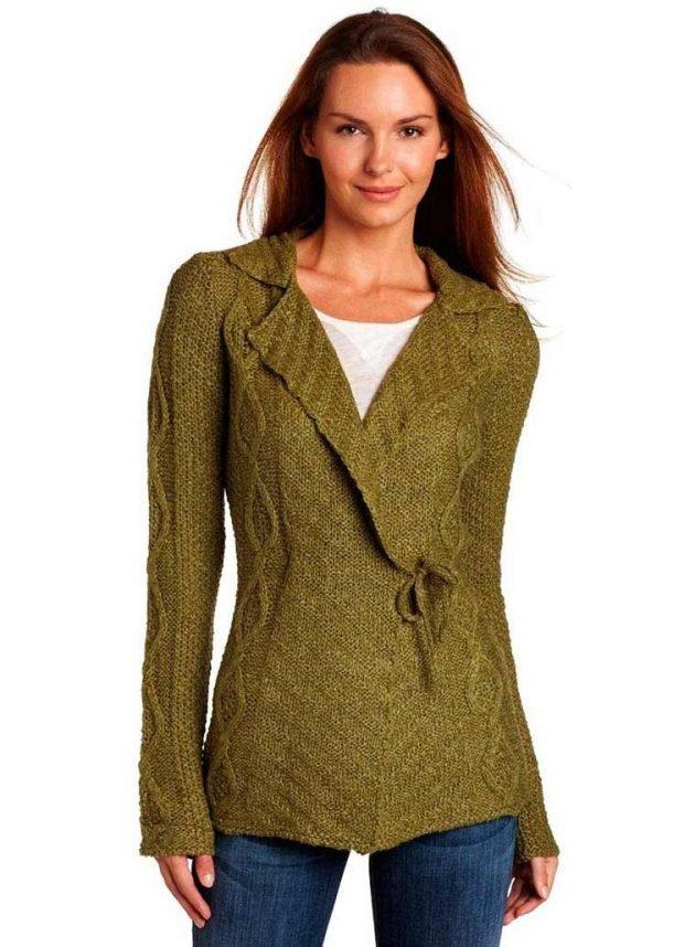 кардиган свитер зеленый с запахом