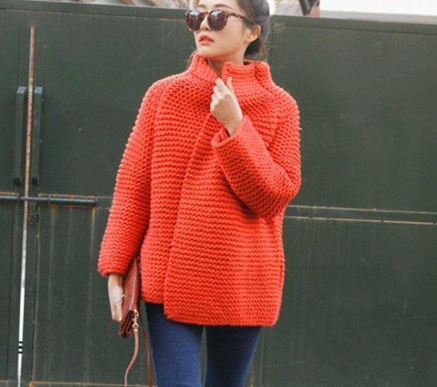 кардиган свитер красный ворот стойка