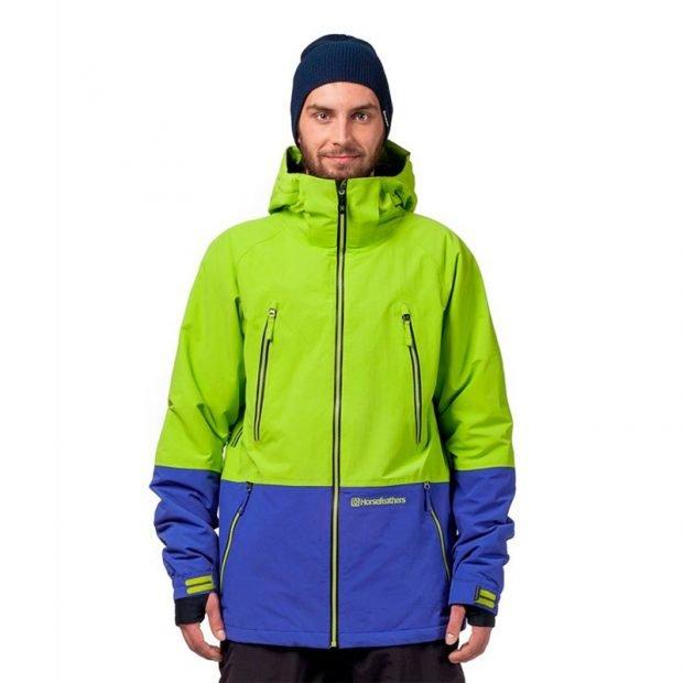 куртка для сноуборда салатовая с синим