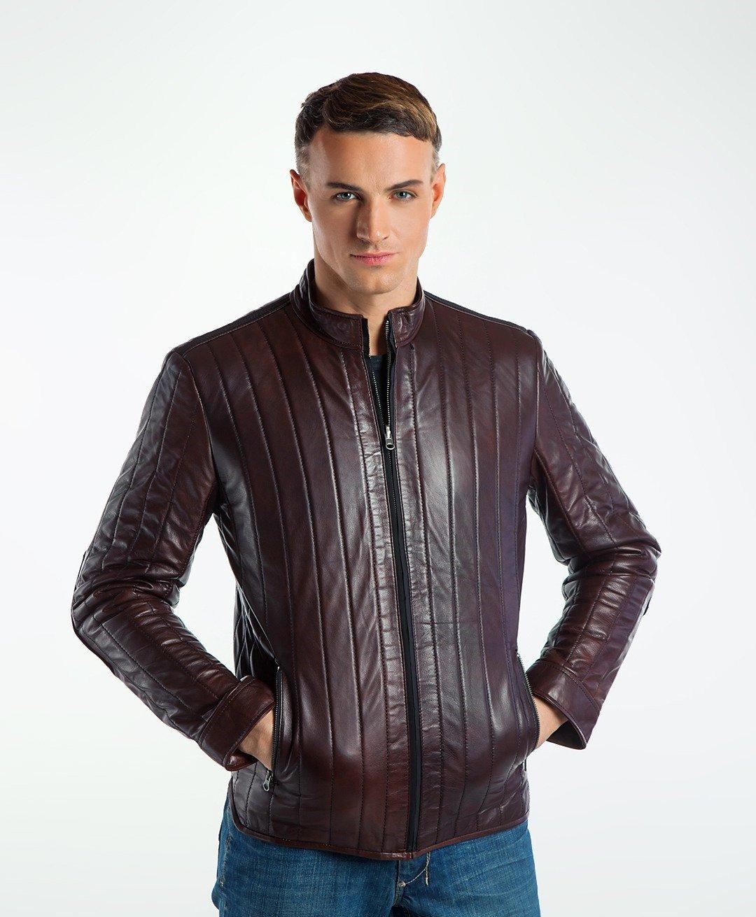 кожаная куртка бордово-коричневая