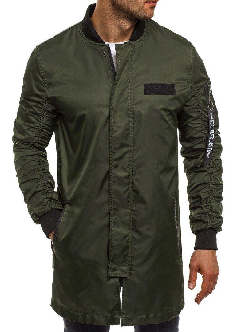 куртка ветровка темно-зеленая длинная