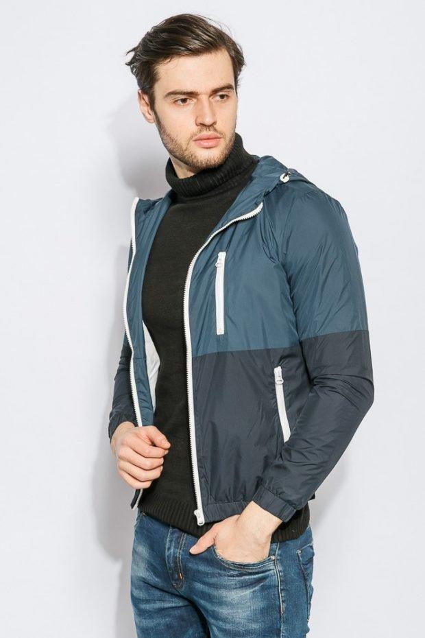куртка ветровка серо-синяя