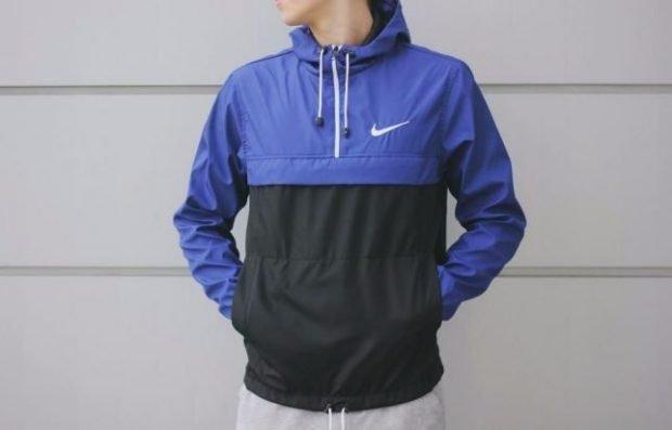 куртка анорак синяя с черным
