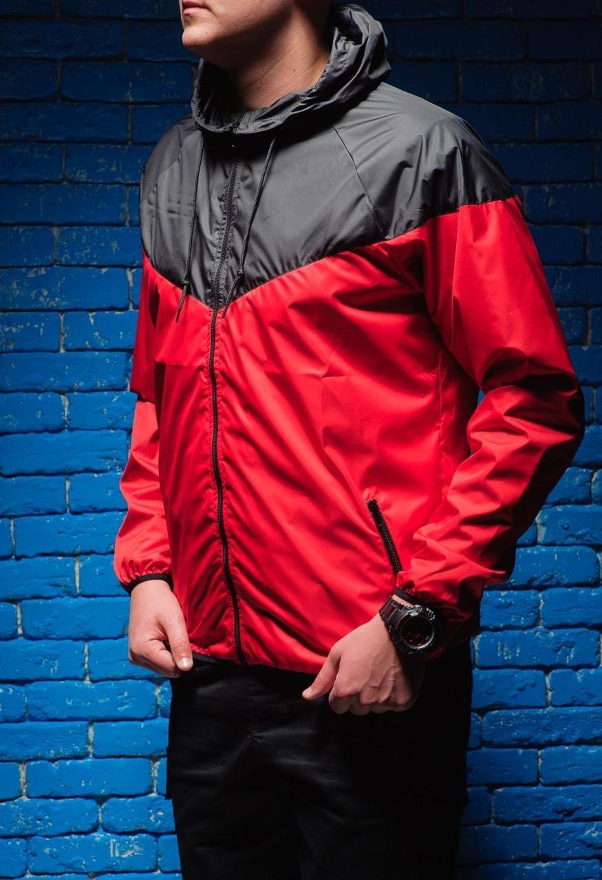 куртка анорак красная с черным