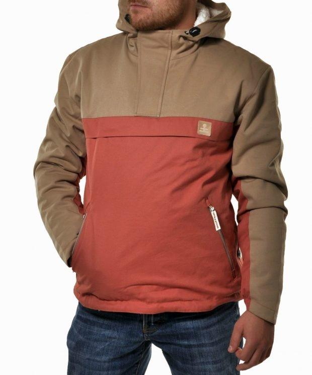 куртка анорак коричневая с красным
