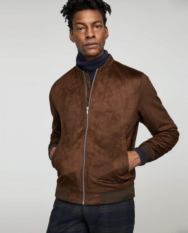 куртка бомбер коричневая