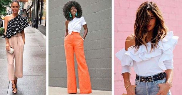 модные тенденции лето 2021 бежевые короткие штаны блузка с открытым плечом оранжевые штаны клеш под блузку белую с открытым плечом блузка с воланами