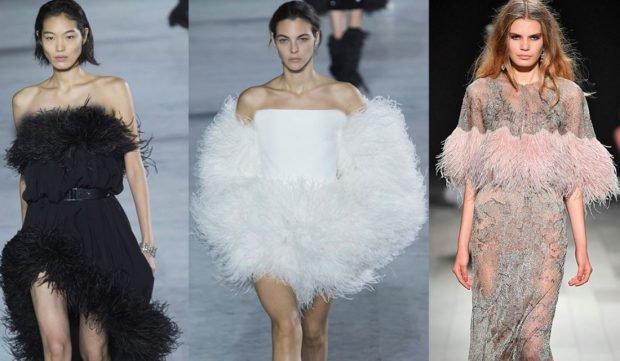 модные тенденции платья с перьями