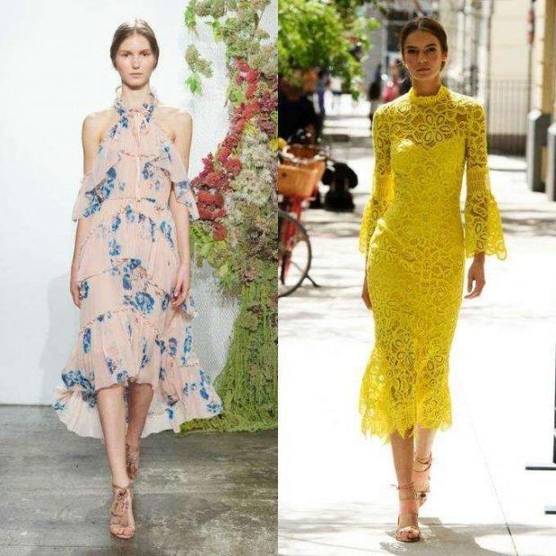 светлое платье с воланами желтое ажурное