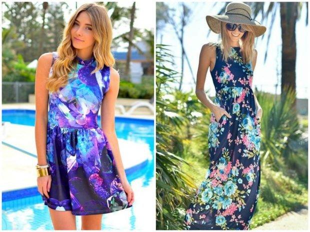 цветное платье короткое без рукава макси в цветы
