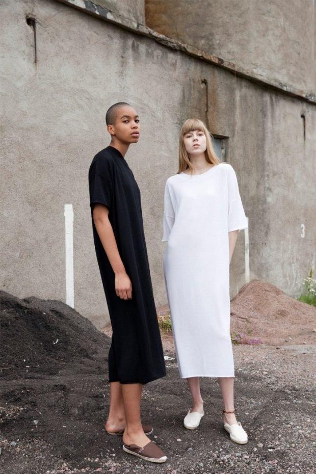 прямые платья черное и белое с коротким рукавом