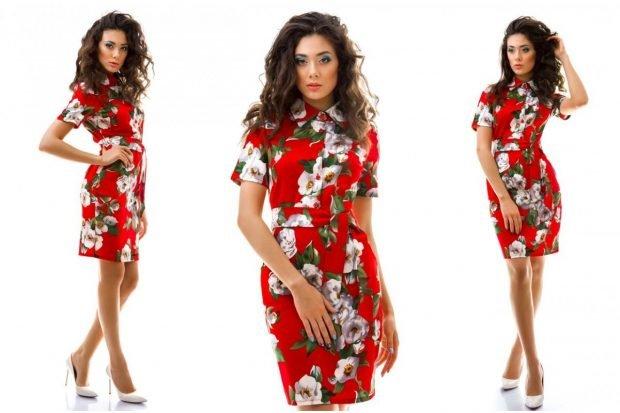 платье красное в цветы