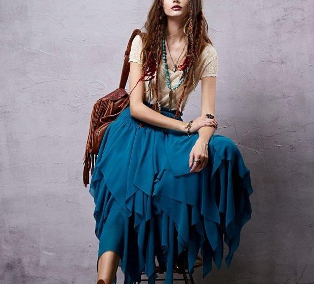 юбка многослойная синяя