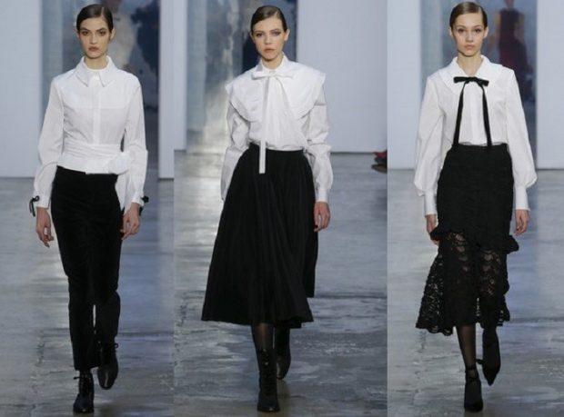 модные тенденции весна 2021 черный низ белый верх